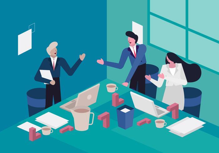 Reunião do gerente para alcançar a ilustração de vetor de metas da empresa