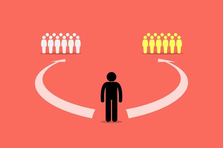 Homem escolhendo para se juntar entre duas equipes ou dois grupos de pessoas. vetor