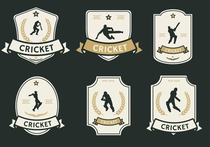 Pacote de vetores de rótulo de jogador de críquete