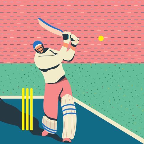 Batedor de críquete Batedor bate bola vetor