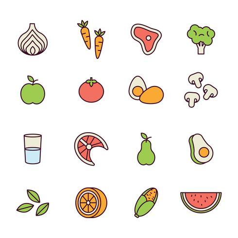 Delineou ícones de comida saudável vetor