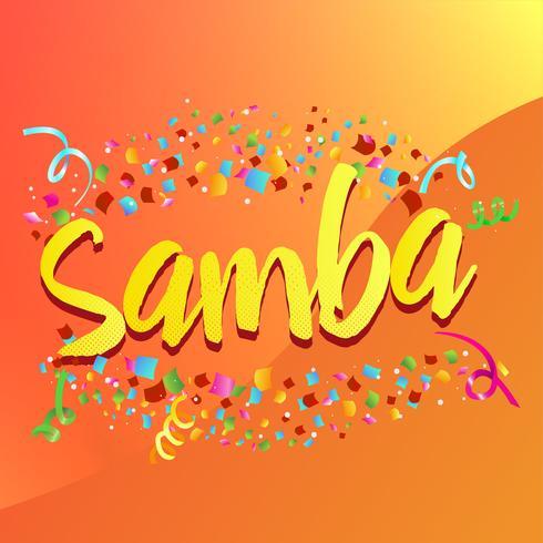 """Explosão de Confetti em torno da palavra """"Samba"""" vetor"""
