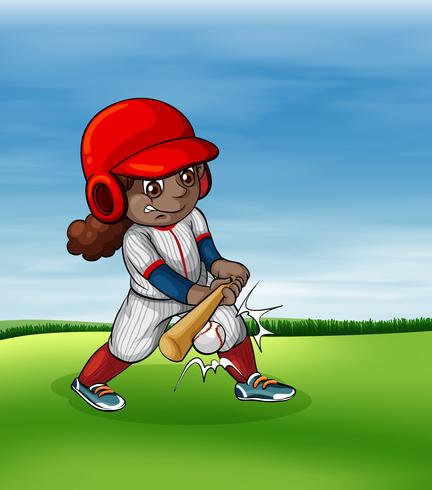 Menina, jogando basebol, ao ar livre vetor