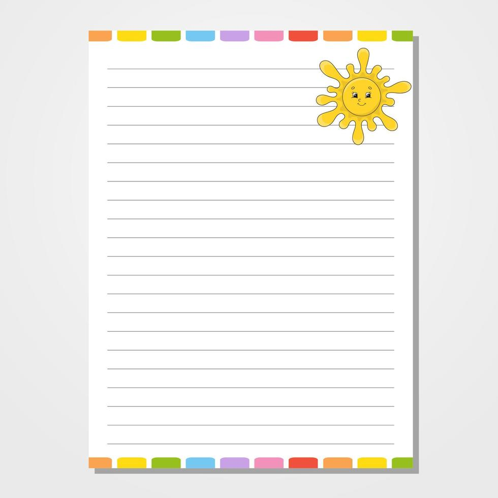 modelo de folha para caderno, bloco de notas, diário. personagem engraçado. ilustração isolada do vetor. estilo de desenho animado. vetor