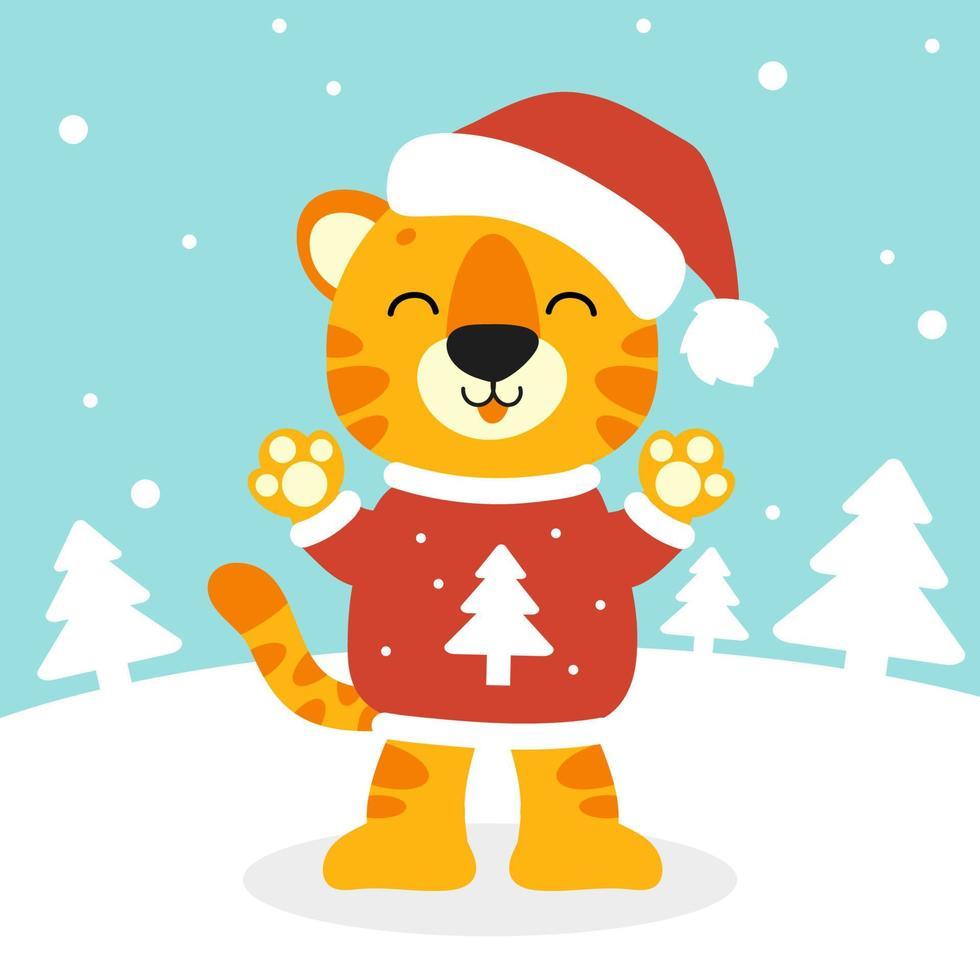 tigre simbol em um chapéu de Papai Noel. Personagem de desenho animado. ilustração vetorial colorida. isolado na cor de fundo. elemento de design. modelo para seu projeto, livros, adesivos, cartões. vetor