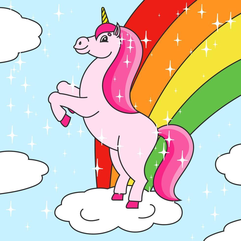 o unicórnio mágico se ergueu. o cavalo animal fica nas patas traseiras. estilo de desenho animado. ilustração vetorial plana simples. vetor