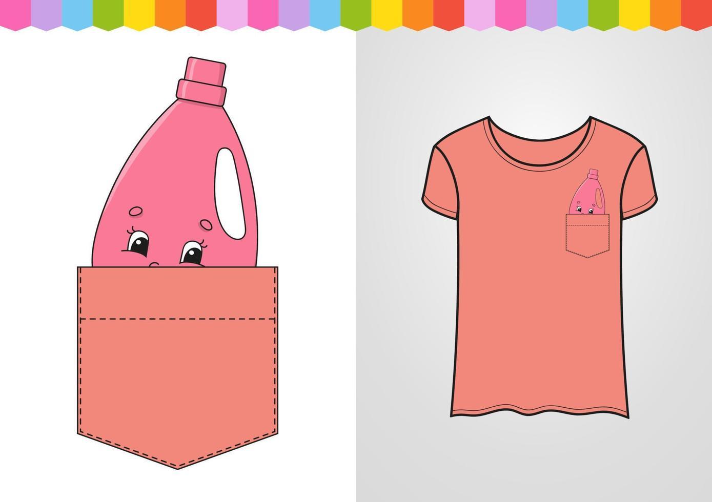 limpador rosa no bolso da camisa. personagem fofinho. ilustração vetorial colorida. estilo de desenho animado. isolado no fundo branco. elemento de design. modelo para suas camisas, livros, adesivos, cartões, pôsteres. vetor