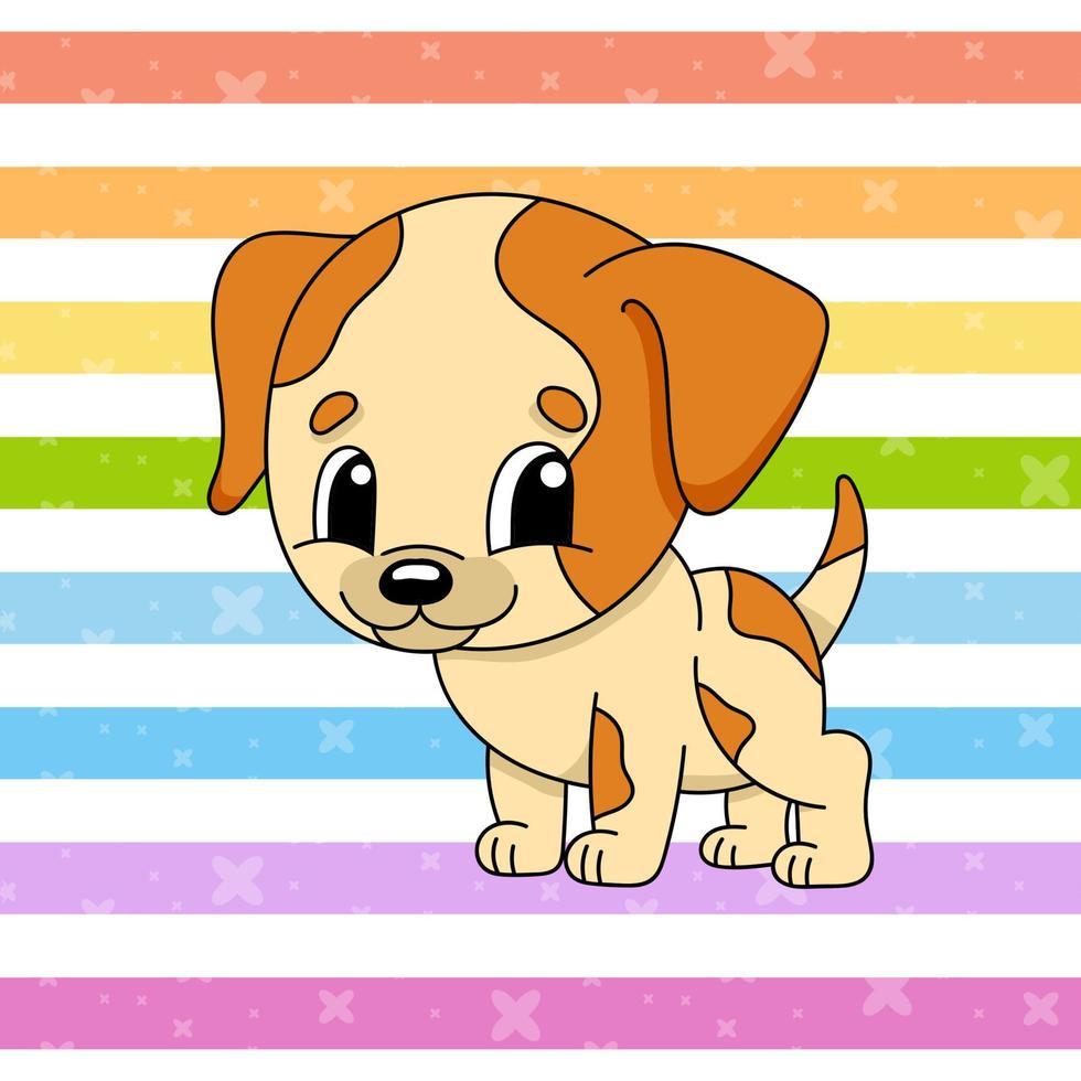 cachorro malhado. personagem fofinho. ilustração vetorial colorida. estilo de desenho animado. isolado na cor de fundo. elemento de design. modelo para seu projeto, livros, adesivos, cartões, cartazes, roupas. vetor