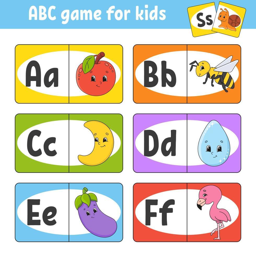 definir cartões flash abc. alfabeto para crianças. aprender letras. planilha de desenvolvimento educacional. página de atividades para estudar inglês. jogo para crianças. personagem engraçado. ilustração vetorial. estilo de desenho animado. vetor