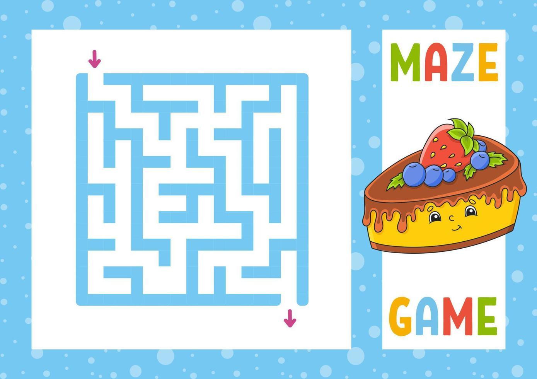 labirinto quadrado. jogo para crianças. quebra-cabeça para crianças. personagem feliz. enigma do labirinto. ilustração do vetor de cor. encontre o caminho certo. ilustração isolada do vetor. estilo de desenho animado.