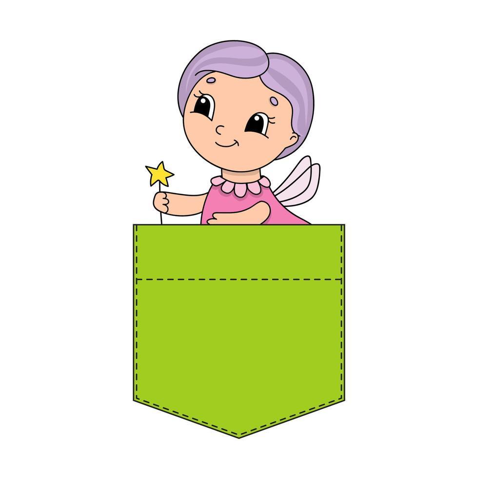 personagem bonita no bolso da camisa. ilustração vetorial colorida. estilo de desenho animado. isolado no fundo branco. elemento de design. modelo para suas camisas, livros, adesivos, cartões, pôsteres. vetor