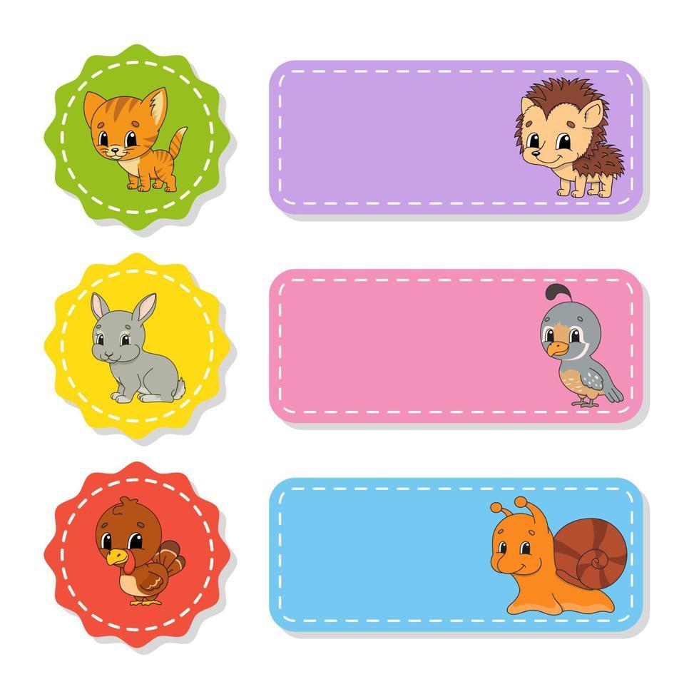 conjunto de adesivos coloridos com personagens fofinhos. ilustração isolada do vetor. vetor