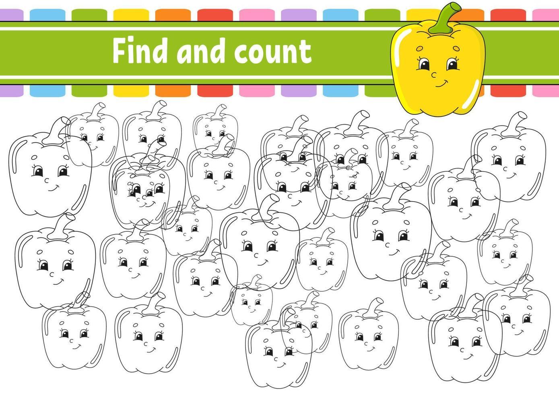 encontre e conte. planilha de desenvolvimento de educação. página de atividades com fotos. jogo de puzzle para crianças. treinamento de pensamento lógico. ilustração isolada do vetor. personagem engraçado. estilo de desenho animado. vetor