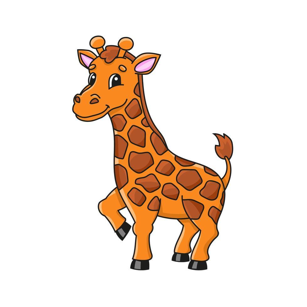 animal girafa. personagem fofinho. ilustração vetorial colorida. estilo coon. isolado no fundo branco. elemento de design. modelo para seu projeto, livros, adesivos, cartões, cartazes, roupas. vetor