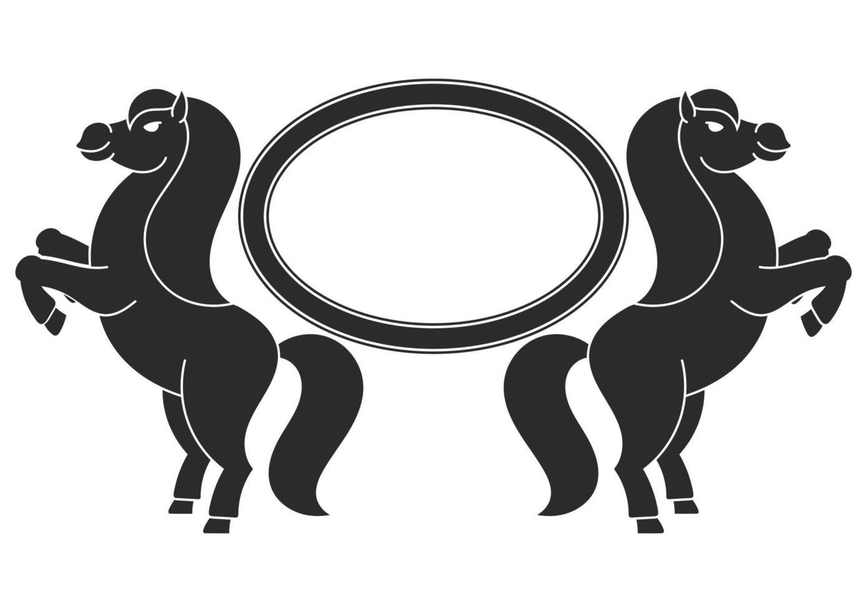 os dois cavalos empinaram. com espaço para seu texto. elemento para a concepção de etiquetas, sites. silhueta negra. ilustração vetorial plana simples. vetor