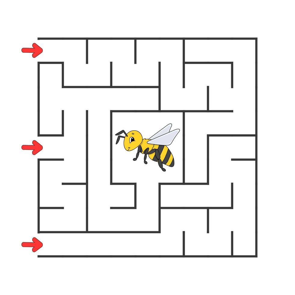 labirinto quadrado engraçado. jogo para crianças. quebra-cabeça para crianças. estilo de desenho animado. enigma do labirinto. ilustração do vetor de cor. encontre o caminho certo. o desenvolvimento do pensamento lógico e espacial.