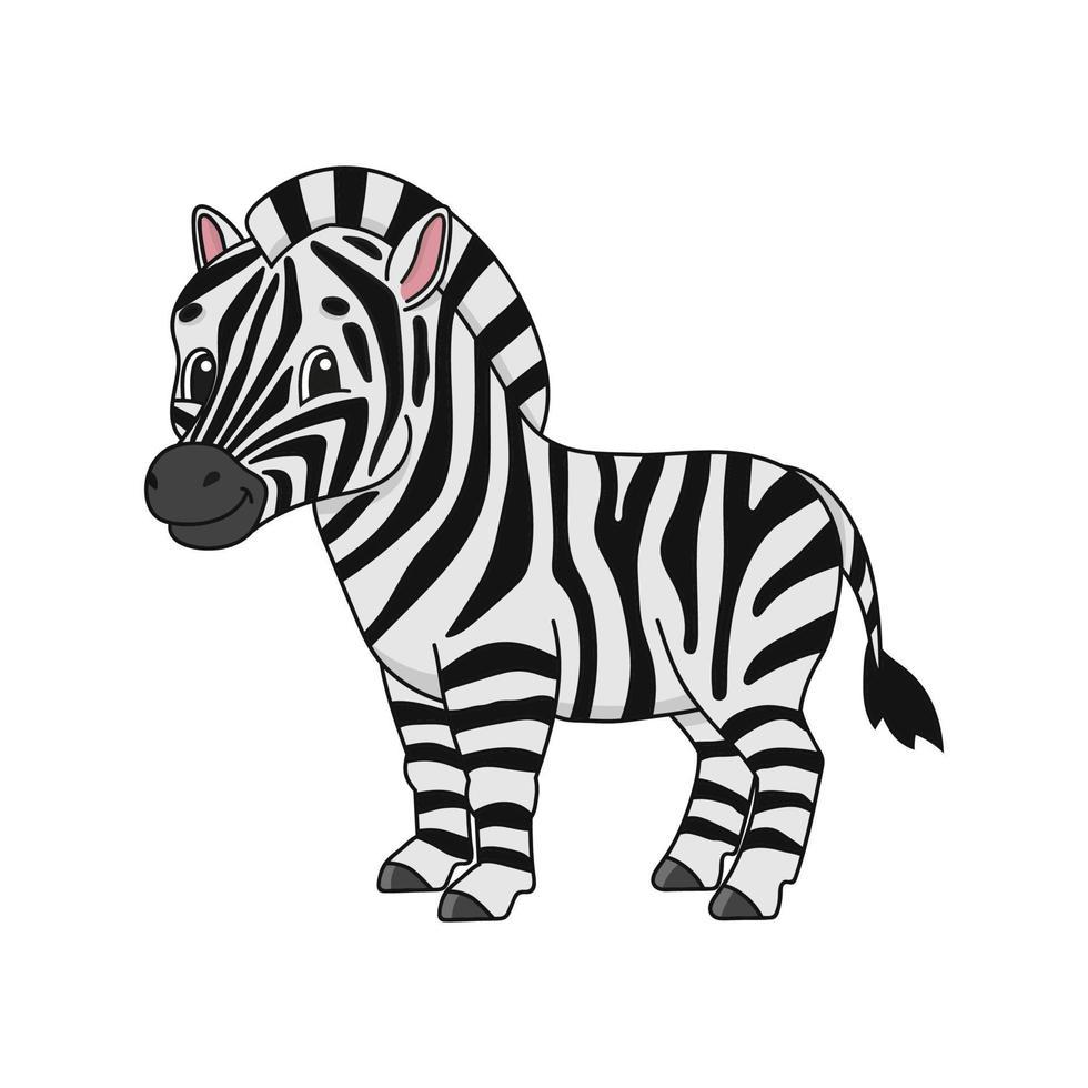 zebra. ilustração em vetor plana fofa em estilo cartoon infantil. personagem engraçado. isolado no fundo branco.