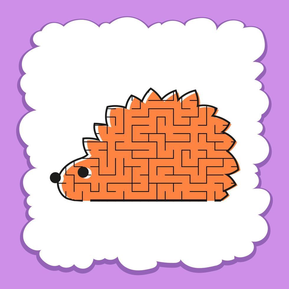 labirinto de cores toon hedgehog kids worksheets. página de atividades. jogo de quebra-cabeça para crianças. animal selvagem. enigma do labirinto. ilustração vetorial. vetor