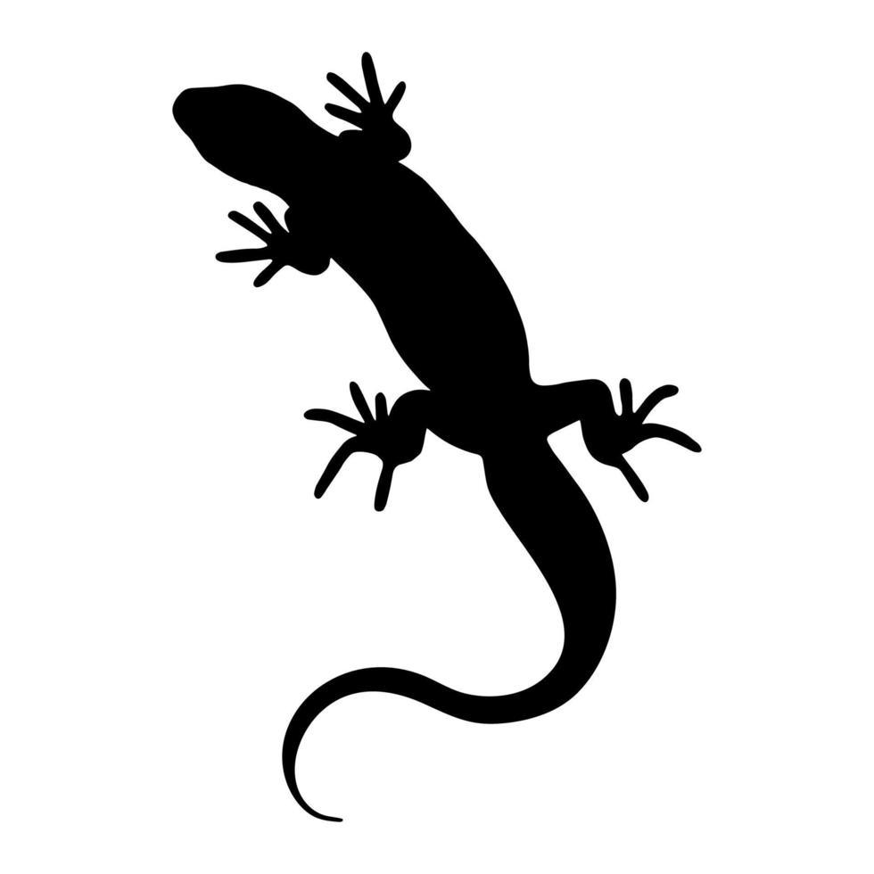 réptil lagarto. silhueta negra. elemento de design. ilustração vetorial isolada no fundo branco. modelo para livros, adesivos, cartazes, cartões, roupas. vetor
