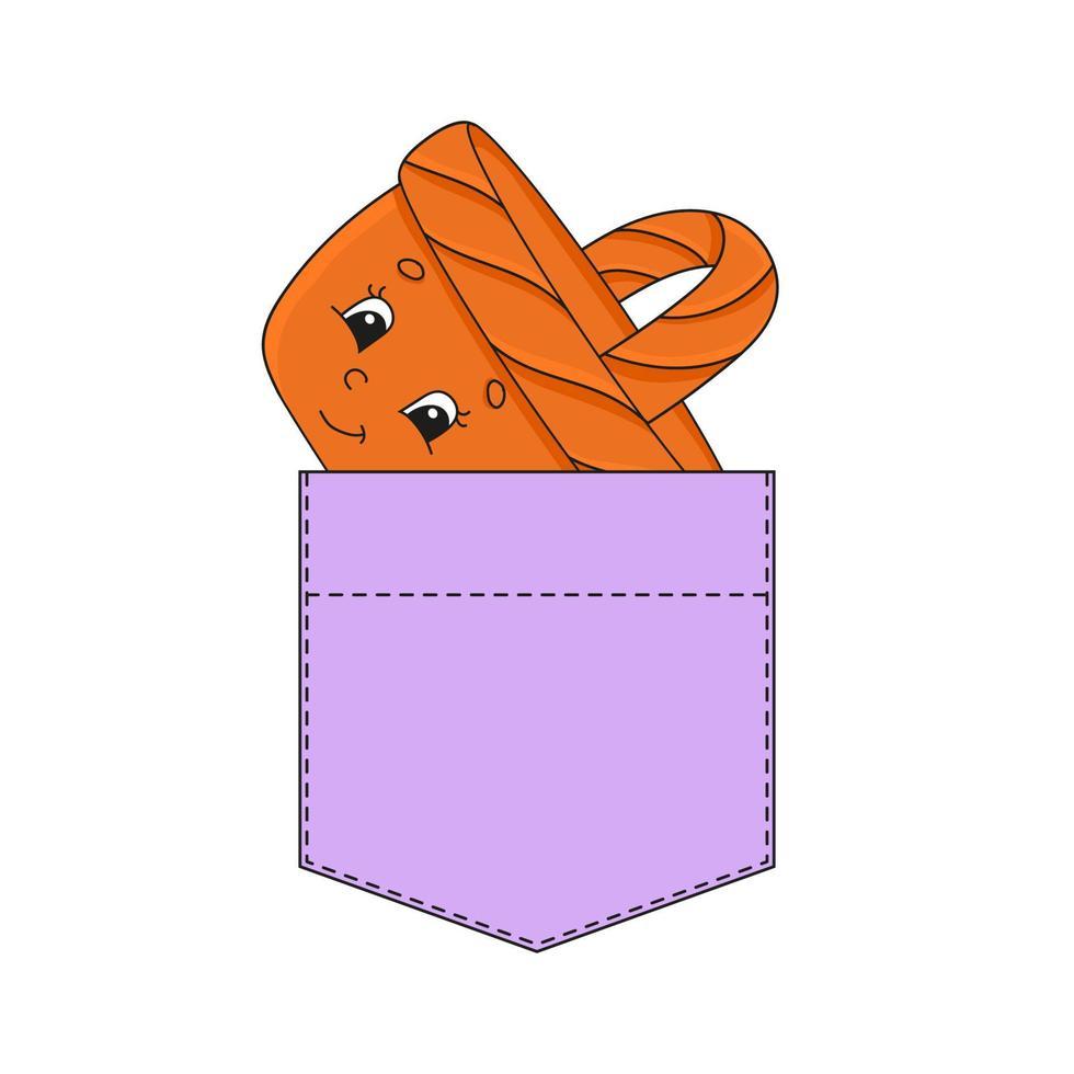 cesta de vime no bolso da camisa. personagem fofinho. ilustração vetorial colorida. estilo de desenho animado. isolado no fundo branco. elemento de design. modelo para suas camisas, livros, adesivos, cartões, pôsteres. vetor
