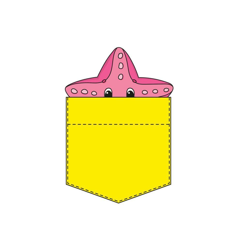 estrela do mar no bolso da camisa. personagem fofinho. ilustração vetorial colorida. estilo de desenho animado. isolado no fundo branco. elemento de design. modelo para suas camisas, livros, adesivos, cartões, pôsteres. vetor