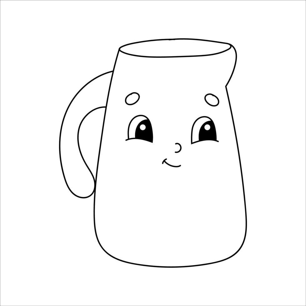 jarro para água. página do livro para colorir para crianças. estilo de desenho animado. ilustração vetorial isolada no fundo branco. vetor