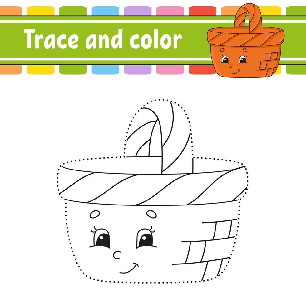 traço e cor. página para colorir para crianças. prática de caligrafia. planilha de desenvolvimento educacional. página de atividades. jogo para crianças e pré-escolares. ilustração isolada do vetor. estilo de desenho animado. vetor