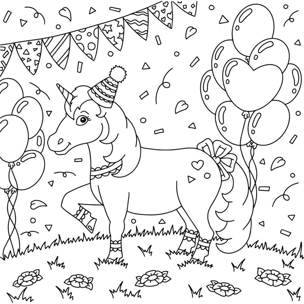 um unicórnio engraçado com um chapéu de festa se divertindo em uma festa de aniversário. cavalo fofo. página do livro para colorir para crianças. estilo de desenho animado. ilustração vetorial isolada no fundo branco. vetor
