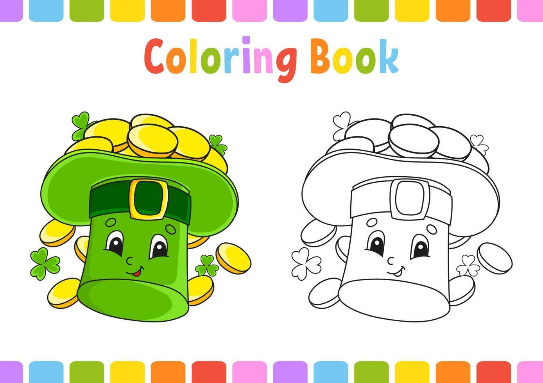 livro de colorir para crianças. st. dia de patrick. Personagem de desenho animado. ilustração vetorial. página de fantasia para crianças. silhueta de contorno preto. isolado no fundo branco. vetor