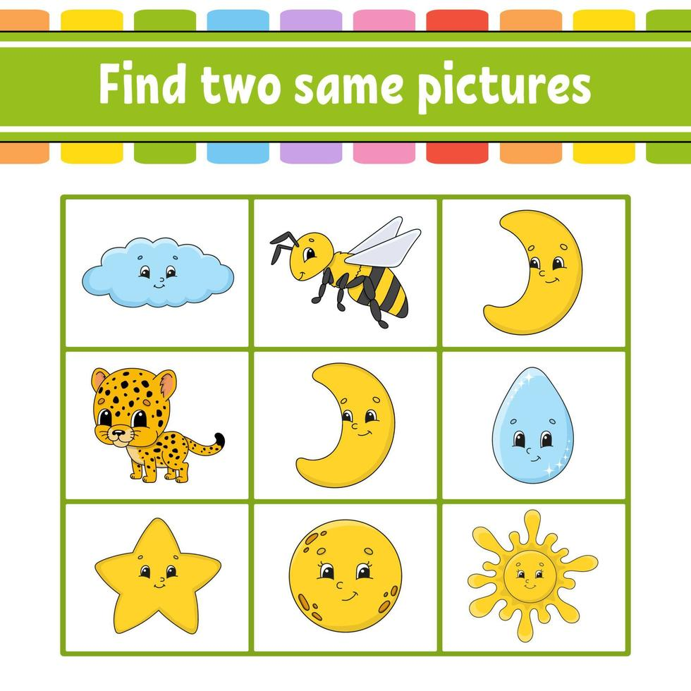 encontre duas fotos iguais. tarefa para crianças. planilha de desenvolvimento educacional. página de atividades. jogo para crianças. personagem engraçado. ilustração isolada do vetor. estilo de desenho animado. vetor