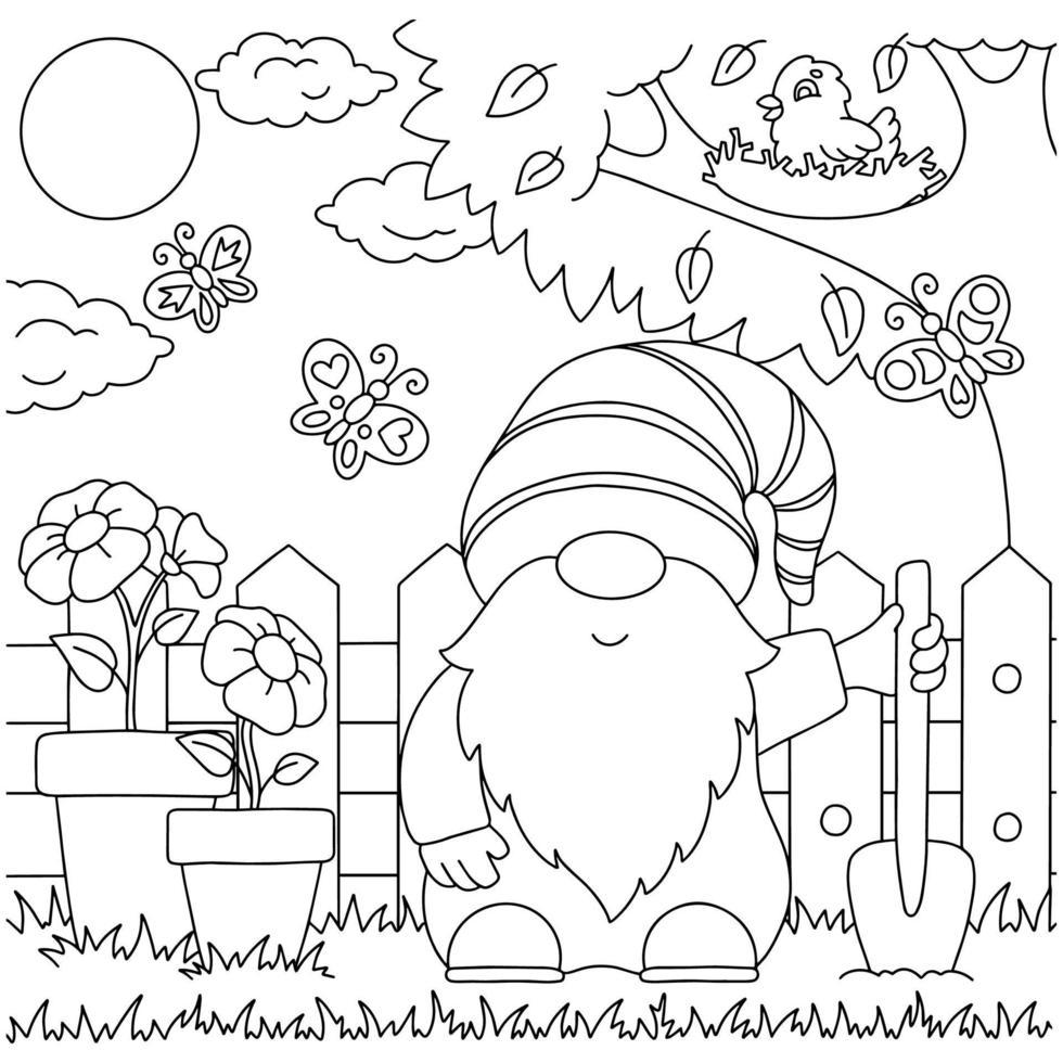 gnomo no jardim. página do livro para colorir para crianças. personagem de estilo de desenho animado. ilustração vetorial isolada no fundo branco. vetor