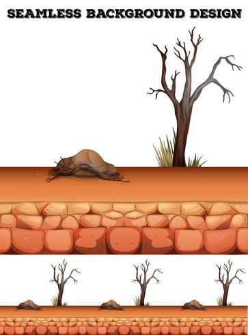 Plano de fundo sem emenda com deserto e árvore vetor