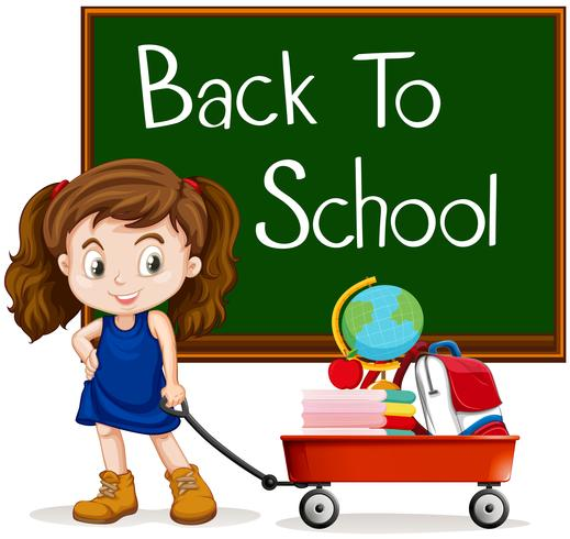 Menina e de volta ao sinal da escola vetor