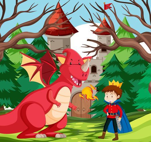 Um, rei, e, dragão, em, castelo vetor