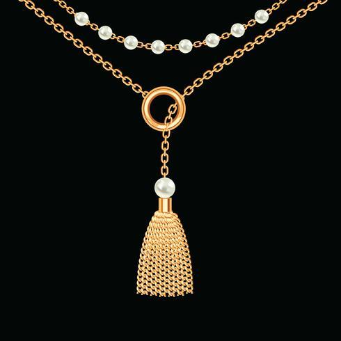 Fundo com colar metálico dourado. Pendão, pérolas e correntes. No preto. Ilustração vetorial vetor