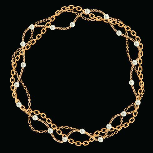 Moldura redonda feita com correntes douradas trançadas. Com pérolas. No preto. Ilustração vetorial vetor
