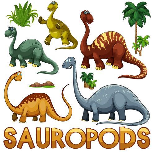 Cor diferente dos saurópodes vetor