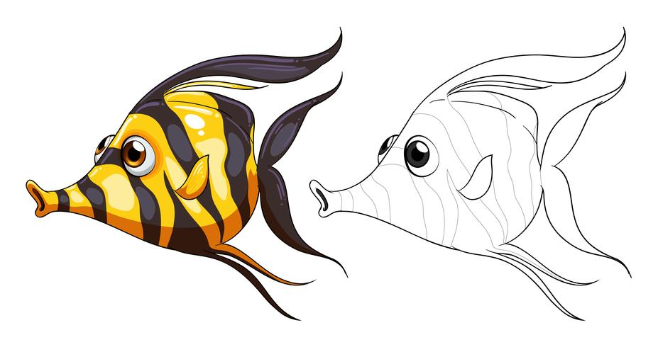 Doodles esboçar animal para peixe vetor