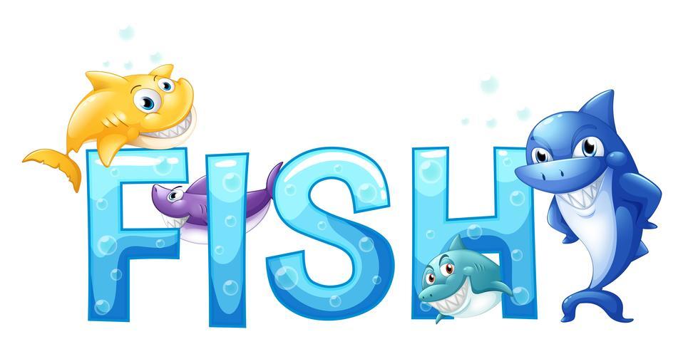 Palavra peixe com muitos peixes vetor