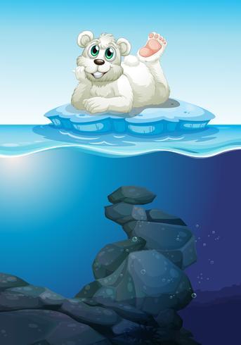 Cena, com, urso polar, e, submarinas vetor