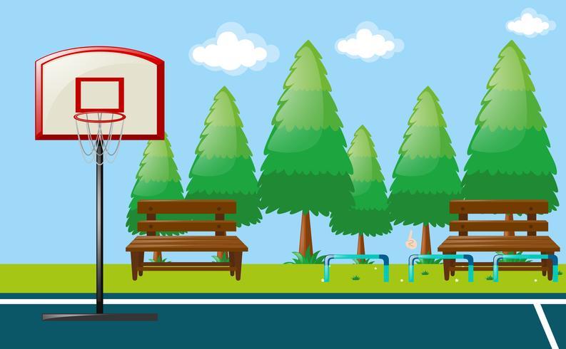 Cena do parque com quadra de basquete vetor