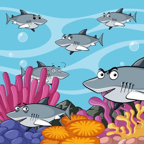 Cena, com, tubarões, submarinas vetor