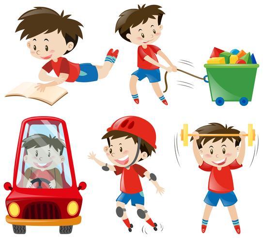 Menino, em, camisas vermelhas, fazendo, diferente, ações vetor