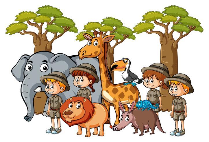 Muitas crianças e animais no zoológico vetor