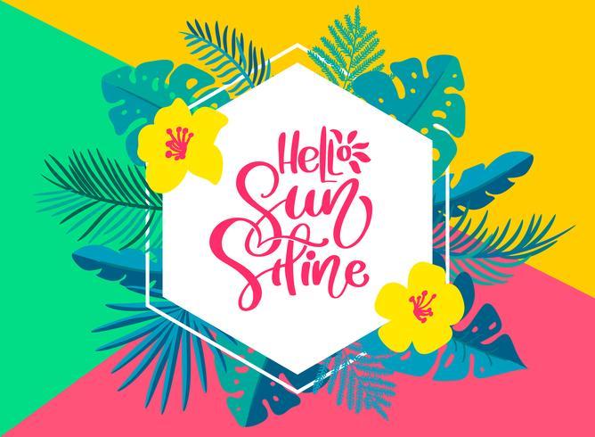 Texto Olá Verão no quadro floral tropical geométrico de folhas vetor