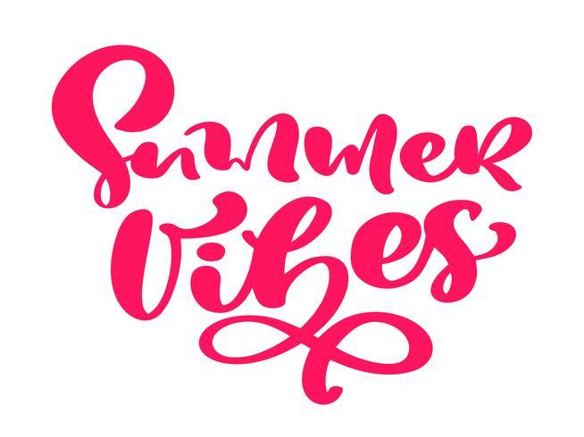 Mão de vibrações de verão desenhada letras texto de vetor de caligrafia