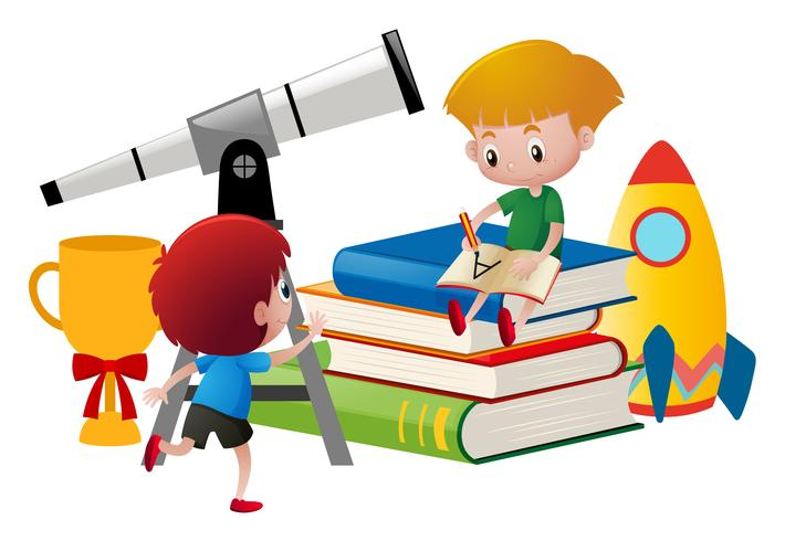 Dois meninos, escrita, e, olhar, telescópio vetor
