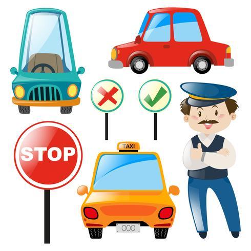 Motorista e diferentes tipos de carro vetor