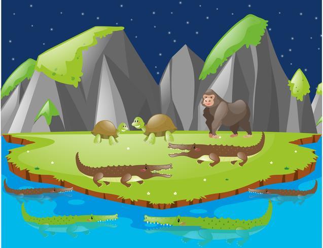 Cena com crocodilos e outros animais na ilha vetor