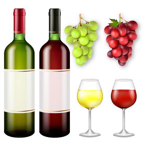 Cachos realistas de uvas e garrafas de vinho vetor